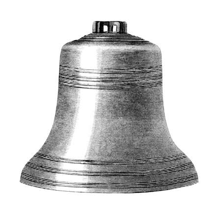 restored: Victorian engraving of a bell. Digitally restored image from a mid-19th century Encyclopaedia. Stock Photo