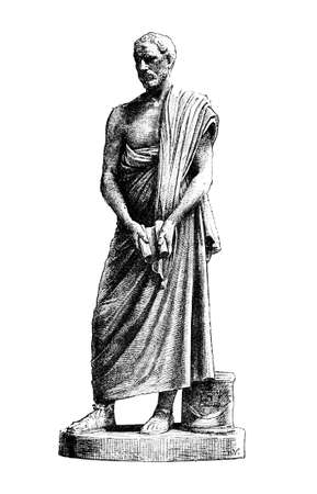 Victorian engraving of a sculpture of Demosthenes. Digitally restored image from a mid-19th century Encyclopaedia.