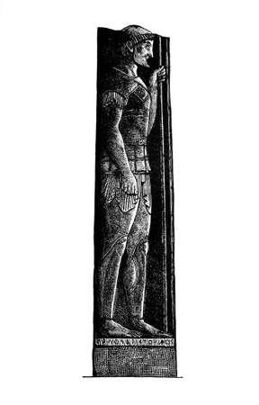 고 대 그리스 군인의 조각 빅토리아 조각. 19 세기 중반 백과 사전에서 디지털 복원 된 이미지.