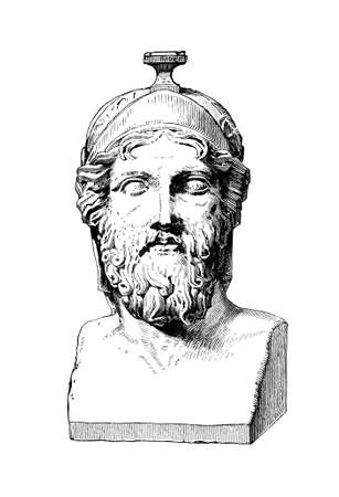 bust: Victorian engraving of a bust of Miltiades. Digitally restored image from a mid-19th century Encyclopaedia. Stock Photo