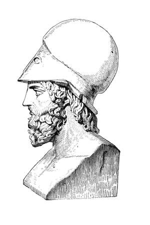 bust: Victorian engraving of a  bust of Themistocles. Digitally restored image from a mid-19th century Encyclopaedia.