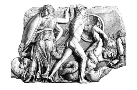 the altar: Victorian engraving of a frieze from the Pergamon Altar. Digitally restored image from a mid-19th century Encyclopaedia.