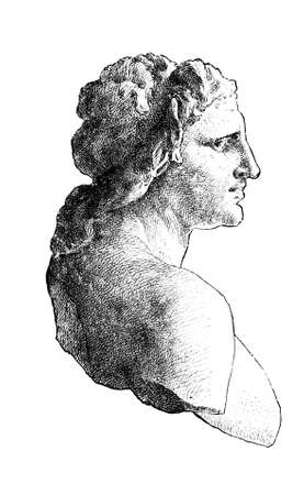 bust: Victorian engraving of a bust of Alexander the Great. Digitally restored image from a mid-19th century Encyclopaedia. Stock Photo