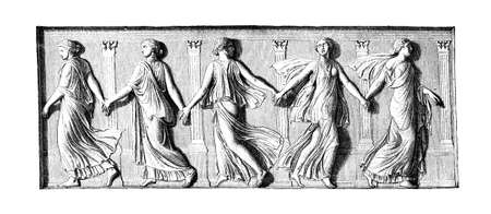 frieze: Victorian engraving of a  frieze depicting dancing girls. Digitally restored image from a mid-19th century Encyclopaedia.