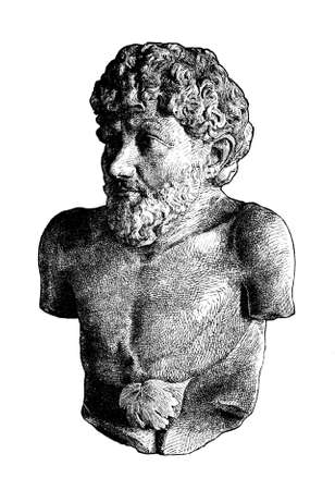 Victorian engraving of a bust of Aesop. Digitally restored image from a mid-19th century Encyclopaedia.
