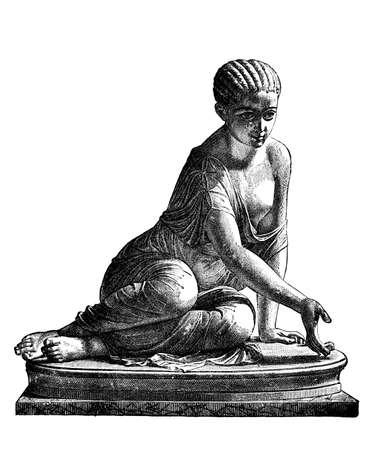 빅토리아 조각 주사위를 연주하는 여자의 조각. 19 세기 중반 백과 사전에서 디지털 복원 된 이미지. 스톡 콘텐츠