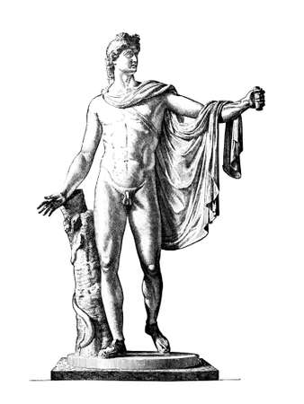 Victorian engraving of the sculpture the Apollo of Belverdere. Digitally restored image from a mid-19th century Encyclopaedia. Foto de archivo