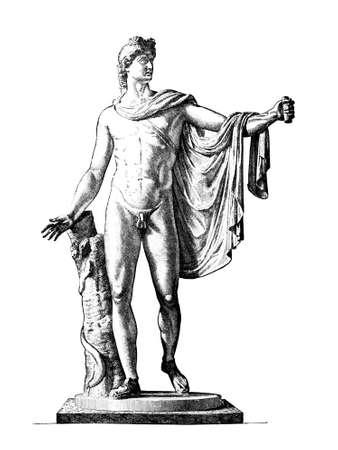 Victoriaanse gravure van de sculptuur van de Apollo van Belverdere. Digitaal hersteld beeld van een midden van de 19e eeuw Encyclopedie.