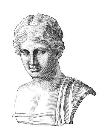 bust: Victorian engraving of a bust of Sappho. Digitally restored image from a mid-19th century Encyclopaedia.
