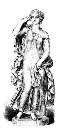 Victorian engraving of a sculpture of an ancient Greek dancing girl. Digitally restored image from a mid-19th century Encyclopaedia.