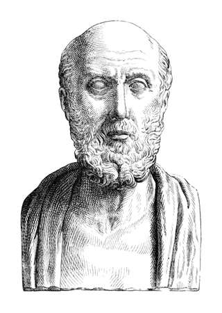 digitally: Victorian engraving of a bust of Hippocrates. Digitally restored image from a mid-19th century Encyclopaedia.