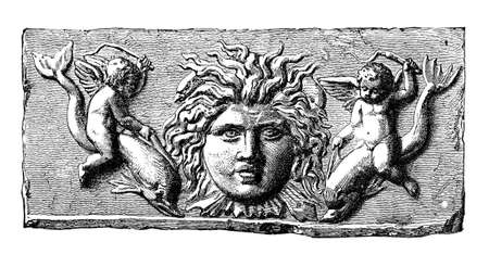 Victorian engraving of a playful ancient Roman frieze. Digitally restored image from a mid-19th century Encyclopaedia.