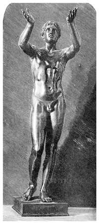 classical greek: Victorian engraving of a classical Greek bronze statue of a boy praying. Digitally restored image from a mid-19th century Encyclopaedia.