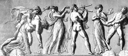 friso: Grabado victoriana de un friso que representa bacanales. Imagen digitalmente restaurada de una enciclopedia mediados del siglo 19. Foto de archivo