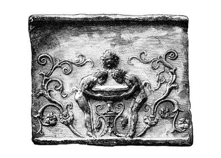 friso: Grabado victoriana de un diseño friso juguetón. Imagen digitalmente restaurada de una enciclopedia mediados del siglo 19. Foto de archivo