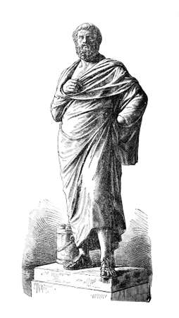 restored: Victorian engraving of a sculpture of Sophocles. Digitally restored image from a mid-19th century Encyclopaedia.