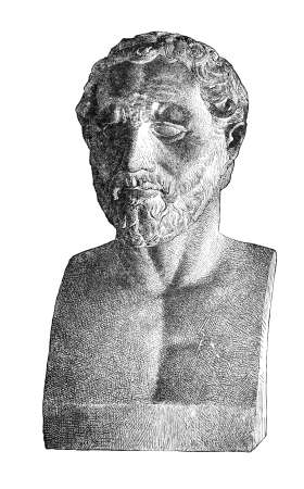 bust: Victorian engraving of a bust of Demosthenes. Digitally restored image from a mid-19th century Encyclopaedia.