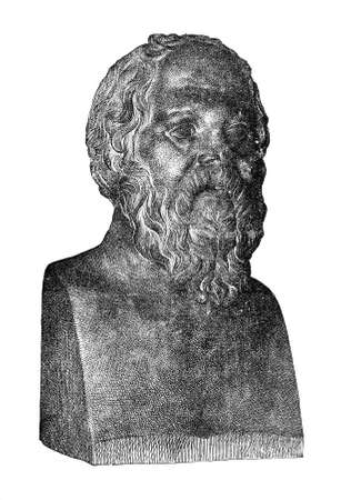 Victorian engraving of a bust of Socrates. Digitally restored image from a mid-19th century Encyclopaedia.