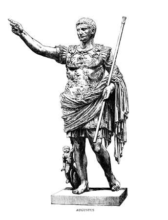 Victorian engraving of a sculpture of Augustus Caesar. Digitally restored image from a mid-19th century Encyclopaedia.
