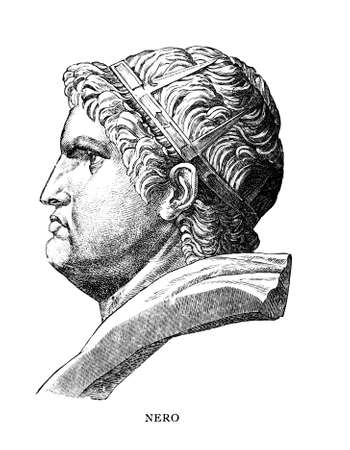 bust: Victorian engraving of a bust of Nero. Digitally restored image from a mid-19th century Encyclopaedia. Stock Photo