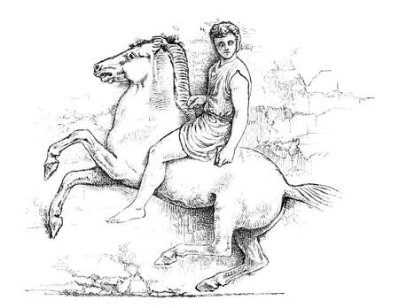 frieze: Victorian engraving of an ancient Greek frieze of a horse and rider. Digitally restored image from a mid-19th century Encyclopaedia. Stock Photo