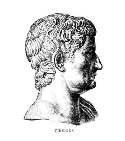 Victorian engraving of Roman emperor Tiberius. Digitally restored image from a mid-19th century Encyclopaedia.