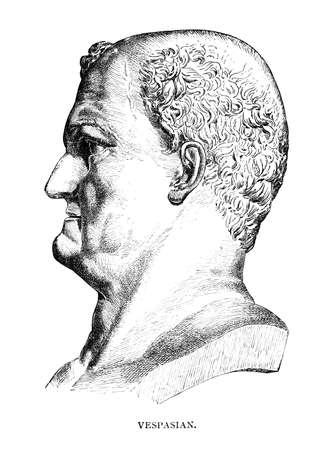 로마 황제 베스파시아누스의 빅토리아 조각. 19 세기 중반 백과 사전에서 디지털 복원 된 이미지. 스톡 콘텐츠