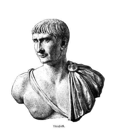 로마 황제 트 라 야누스의 빅토리아 조각입니다. 19 세기 중반 백과 사전에서 디지털 복원 된 이미지.