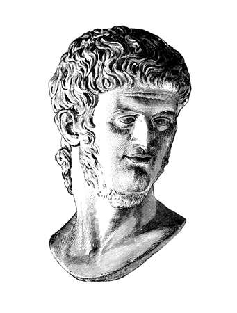 restored: Victorian engraving of the emperor Nero. Digitally restored image from a mid-19th century Encyclopaedia. Stock Photo