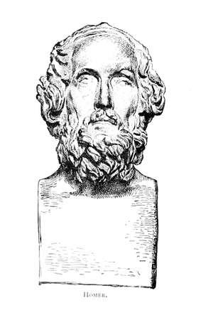 호머의 흉상의 빅토리아 조각. 19 세기 중반 백과 사전에서 디지털 복원 된 이미지. 스톡 콘텐츠