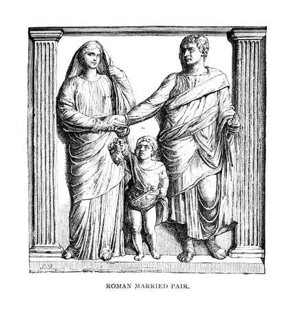 friso: Grabado victoriana de un friso de una familia romana. Imagen digitalmente restaurada de una enciclopedia mediados del siglo 19.