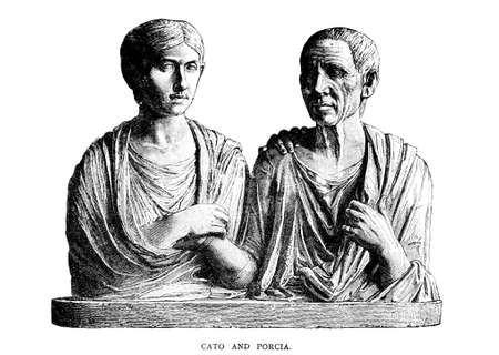 Victorian engraving of Cato and Porcia. Digitally restored image from a mid-19th century Encyclopaedia.