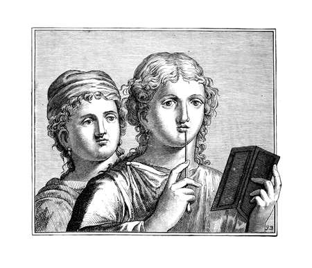 restored: Victorian engraving of Roman girls at school. Digitally restored image from a mid-19th century Encyclopaedia.