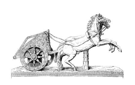 chariot: Victorian engraving of a Roman racing chariot. Digitally restored image from a mid-19th century Encyclopaedia.