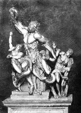 struggling: Victorian engraving of the statue of Lacoon. Digitally restored image from a mid-19th century Encyclopaedia. Stock Photo