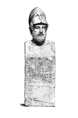 sculpture: Victorian engraving of a sculpture of Pericles. Digitally restored image from a mid-19th century Encyclopaedia.