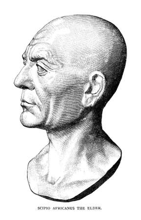 Victorian engraving of a bust of Scipio Africanus. Digitally restored image from a mid-19th century Encyclopaedia.