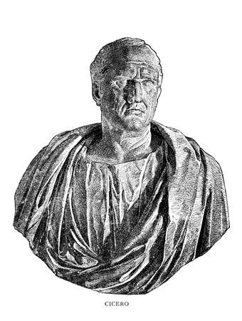 Victorian engraving of a bust of Cicero. Digitally restored image from a mid-19th century Encyclopaedia.