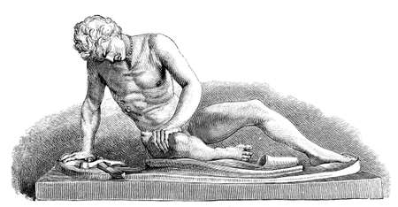 titled: 19th century engraving of an ancient Roman sculpture, sculpture of the Dying Gladiator, photographed from a book  titled