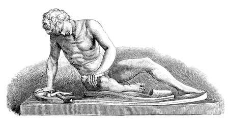 escultura romana: Grabado del siglo 19 de una escultura romana antigua, la escultura del gladiador moribundo, fotografiado desde un libro titulado
