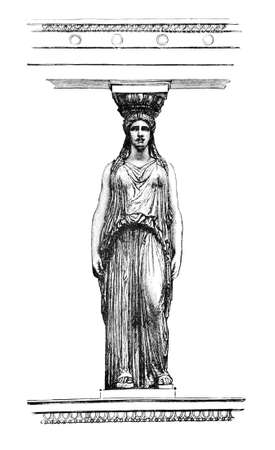 athens: Victorian engraving of a caryatid at Erechtheion, Athens. Digitally restored image from a mid-19th century Encyclopaedia. Stock Photo