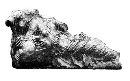 friso: Grabado victoriana de un friso del Partenón, Atenas. Imagen digitalmente restaurada de una enciclopedia mediados del siglo 19. Foto de archivo