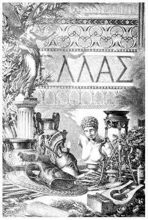 artifacts: Victorian engraving of art and artifacts of Classical Greece. Digitally restored image from a mid-19th century Encyclopaedia.