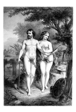 adam: Victorian engraving of a painting of Adam and Eve. Digitally restored image from a mid-19th century Encyclopaedia.