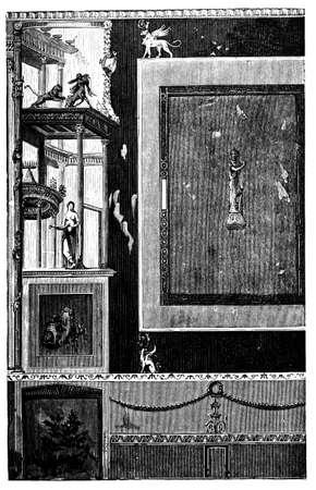 19e-eeuwse gravure van de oude Romeinse fresco's, Pompei, Italië, gefotografeerd vanuit een boek met de titel 'Italian Pictures getekend met pen en potlood' gepubliceerd in Londen ca. 1870. Copyright heeft over dit kunstwerk is verstreken. Digitaal hersteld. Stockfoto
