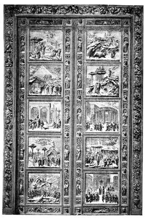 florence   italy: 19th century engraving of door at Duomo, Florence, Italy, photographed from a book  titled