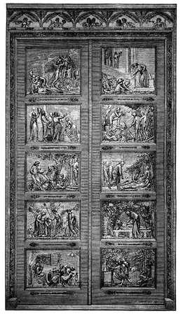 john: 19th century engraving of ornate doors (Bunyan Gates), Bedford, UK Stock Photo