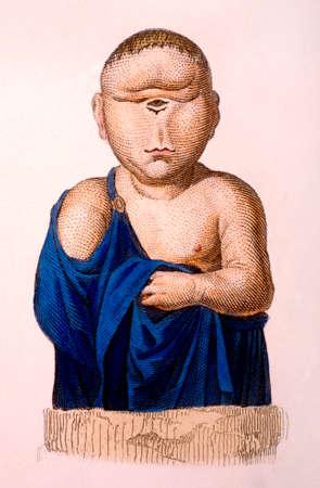 빅토리아 조각 Cyclops의 그림입니다. 19 세기 중반 백과 사전에서 디지털 복원 된 이미지. 스톡 콘텐츠