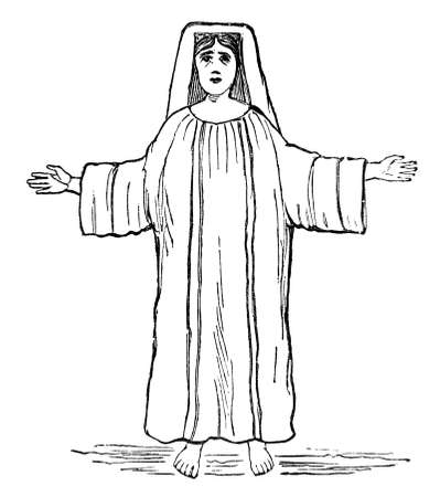 19th century engraving of a praying woman, photographed from a book  titled