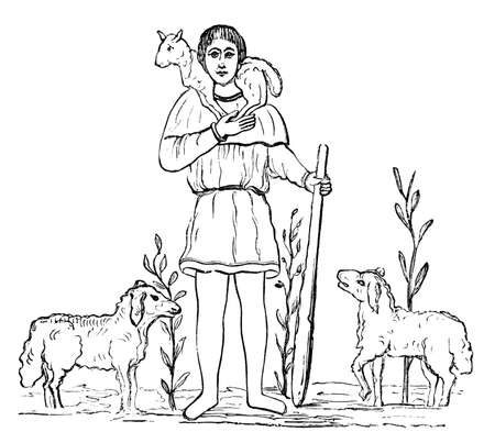 19th century engraving of a shepherd, photographed from a book  titled